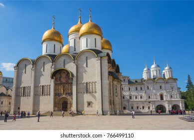 MOSCOW, RUSSIA - MAY 23: Cathedral Square of Moscow Kremlin in Russia on May 23, 2013. Square has developed in XIV century with construction of first cathedrals in architectural center of Kremlin