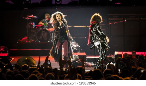 MOSCOW, RUSSIA - MAY 24, 2014 - American rock band Aerosmith performs at Olimpiysky on May 24, 2014 in Moscow