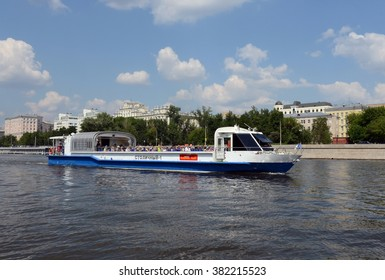 "MOSCOW, RUSSIA - MAY 24, 2014:The walking steam-ship ""Capital-1"" on the Moscow river."