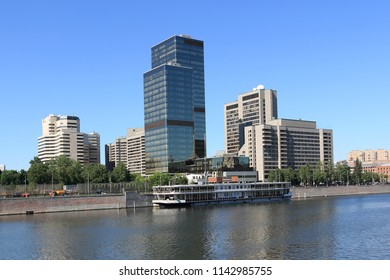 MOSCOW, RUSSIA - MAY 25, 2018: View from embankment of Taras Shevchenko to Moscow river and Krasnopresnenskaya embankment