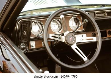 Moscow, Russia - May 25, 2019: Black Chevrolet Camaro Z28 1977 350 interior of retro car