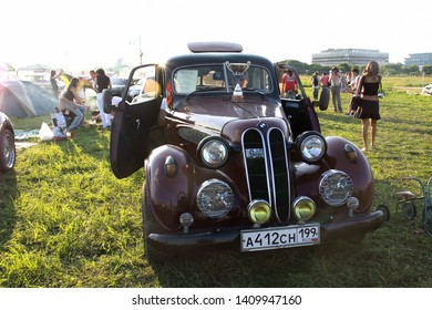 Moscow, Russia - May 25, 2019: BMW 321. 1949. Rare vintage car, possibly a replica. It is on the street.