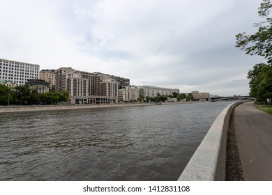 Moscow, Russia may 25, 2019, embankment of the Moscow river with beautiful buildings, along the river long Raushskaya embankment for Cycling and Hiking
