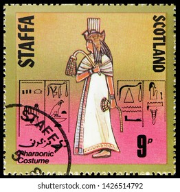 MOSCOW, RUSSIA - MAY 25, 2019: Postage stamp printed in Cinderellas shows , Pharaonic costume, Staffa Scotland serie, circa 1980