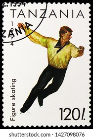 MOSCOW, RUSSIA - MAY 25, 2019: Postage stamp printed in Tanzania shows Figure Skating, Winter Olympic Games 1994 - Lillehammer serie, circa 1994