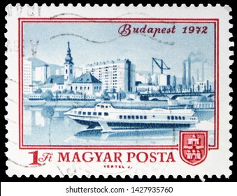 MOSCOW, RUSSIA - MAY 25, 2019: Postage stamp printed in Hungary shows View of Budapest, 1972, Centenary of Budapest serie, circa 1972