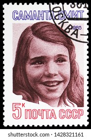 MOSCOW, RUSSIA - MAY 25, 2019: Postage stamp printed in Soviet Union (Russia) shows Samantha Smith, circa 1985