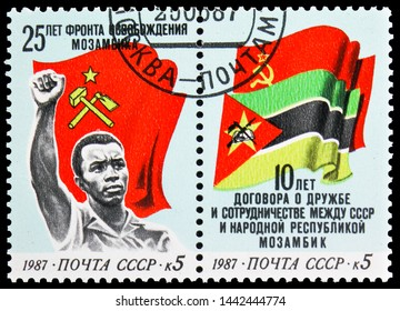 MOSCOW, RUSSIA - MAY 25, 2019: Two postage stamps printed in Soviet Union devoted to Mozambique, serie, circa 1987