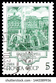MOSCOW, RUSSIA - MAY 25, 2019: Postage stamp printed in Soviet Union shows Samson Fountain, Fountains of Petrodvorets serie, circa 1988