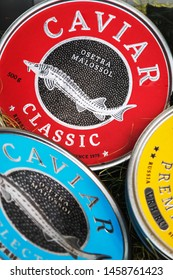 Moscow, Russia - may 25, 2019: caviar of different varieties in tin cans. the common name of sturgeon ROE. Traditional black caviar is given by sturgeon, Beluga, sturgeon and thorn