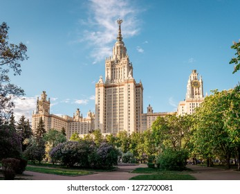 Moscow / Russia - May 26, 2017:  The main building of Lomonosov Moscow State University (MSU/MGU) on the Sparrow Hills (Vorob'yovy Gory)