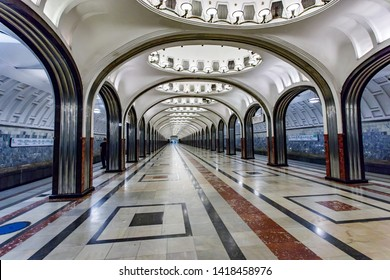 Moscow, Russia may 26, 2019 Mayakovskaya metro station. One of the metro stations in the city center, magnificent columns and stylish chandeliers adorn the lobby