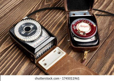 Moscow , RUSSIA - May 26, 2020: Old vintage russian soviet photo exposure meters Leningrad-2 and Leningrad-4