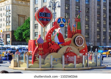 Moscow, Russia - May 27, 2018: Countdown timer prior to starting of the championship FIFA World Cup Russia 2018 on Manezhnaya square in sunny evening