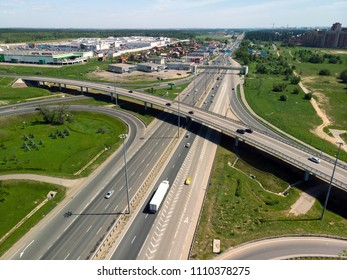 Moscow, Russia - May 27. 2018. Flight to Road junction on Leningrad Highway in Zelenograd
