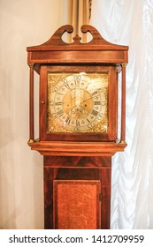 Moscow, Russia - May 27, 2019: 18th Century Longcase Clock John Wyld Nottingham, John Wyld father and son both eminent clock makers of Nottingham working through most of the 18th century