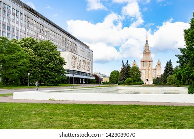 MOSCOW, RUSSIA - MAY 27, 2019: Student near The First Humanities Building and view of The Main Building of Moscow State University (Lomonosov State University of Moscow) in sunny summer day