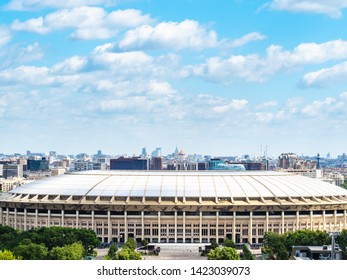 MOSCOW, RUSSIA - MAY 27, 2019: view of Luzhniki Olympic Complex and panorama of Moscow city from observation deck on Sparrow Hills (Vorobyovy Gory) in Moscow in summer