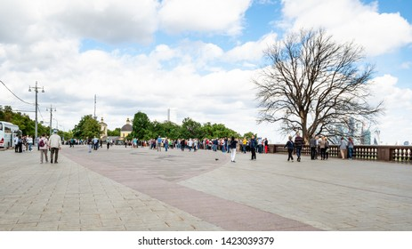 MOSCOW, RUSSIA - MAY 27, 2019: tourists on observation deck on Sparrow Hills (Vorobyovy Gory) in Moscow city. The height of the viewpoint is about 80 meters above the level of the Moscow River