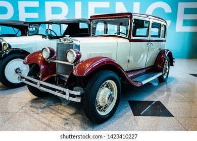 MOSCOW, RUSSIA - MAY 27, 2019: Erskine (Studebaker) Model 50 Sedan, 1927.   vintage car at the free of charge exhibition at the Moscow Domodedovo Airport