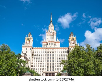 MOSCOW, RUSSIA - MAY 27, 2019: east facade of The Main Building of Moscow State University (Lomonosov State University of Moscow) in sunny summer day