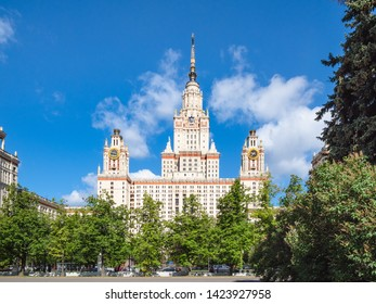 MOSCOW, RUSSIA - MAY 27, 2019: view of east facade of The Main Building of Moscow State University (Lomonosov State University of Moscow) on Lebedev street in sunny summer day