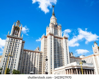 MOSCOW, RUSSIA - MAY 27, 2019: north facade of The Main Building of Moscow University from Akademika Samarskogo street. The inscription: 1949-1953 Moscow State University named after MV Lomonosov