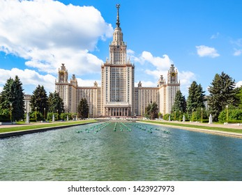 MOSCOW, RUSSIA - MAY 27, 2019: north facade of Main Building of Moscow University from University Square. The inscription above the portal: 1949-1953 Moscow State University named after MV Lomonosov