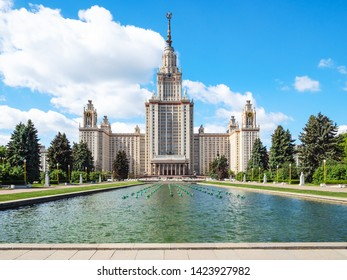 MOSCOW, RUSSIA - MAY 27, 2019: north facade of The Main Building of Moscow University with pool on University Square. Portal inscription: 1949-1953 Moscow State University named after MV Lomonosov