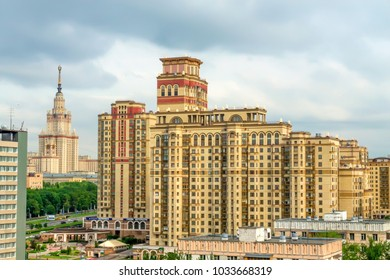 MOSCOW, RUSSIA - MAY 28, 2013: Moscow State University building from distance