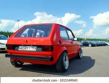 MOSCOW, RUSSIA - MAY 28, 2016: Volkswagen Golf GT mk1 at the VW Car Festival