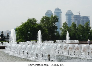 MOSCOW, RUSSIA - MAY 29, 2015:Fountain in Victory Park on Poklonnaya Hill in Moscow.