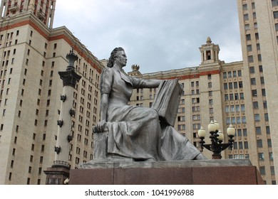 Moscow, Russia - May 29, 2017 - Girl with a book - sculpture at the entrance to the Moscow state University.