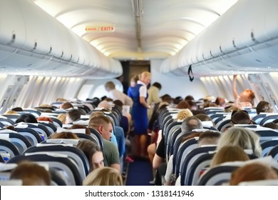 Moscow, Russia - May 29. 2018. In plane Boeing 737 the airline Rossiya