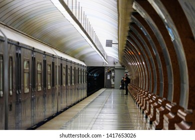 Moscow, Russia - May, 29, 2019: subway train on the station  Minskaya in Moscow, Russia
