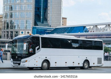 Moscow, Russia - May, 29, 2019: image of bus on Moscow street