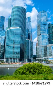 Moscow, Russia - May, 29, 2019: scyscrapers of Moscow City close up