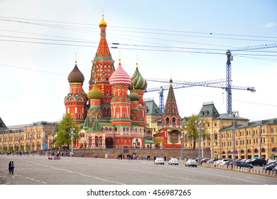 MOSCOW, RUSSIA - MAY 3, 2016: The famous St. Basil's Cathedral with colorful cupolas in Moscow on red square