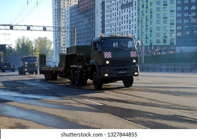 Moscow. Russia. May 3, 2017. Preparation for Victory Day parade on May 9. On Narodnogo Opolcheniya Street the military all-wheel drive KamAZ-65225 truck tractor with the trailer a trawl goes.