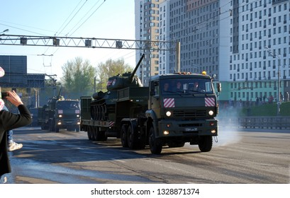Moscow. Russia. May 3, 2017. Rehearsal before Victory Day parade for May 9. The cargo military KamAZ car transports on trawl the Legendary Tank of the Victory T-34 on Narodnogo Opolcheniya Street.