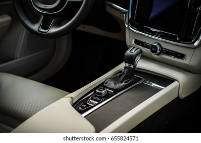 MOSCOW, RUSSIA - MAY 3, 2017 VOLVO V90 CROSS COUNTRY, interior view. Test of new Volvo V90 Cross Country. This car is AWD SUV with business-class saloon. D4 engine.