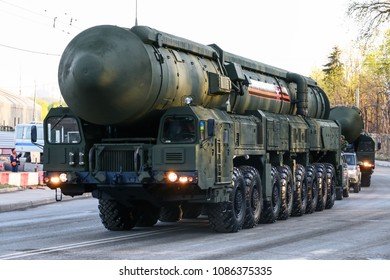 Moscow, Russia - May 3, 2018: Intercontinental ballistic missile Topol-M at the annual Victory day Parade rehearsal.