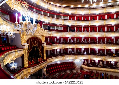 MOSCOW, RUSSIA - MAY 3, 2019: Interior of the Bolshoi Theatre - a historic theater of ballet and opera in Moscow, Russia. The interior auditorium designed by architect Alberto Cavos in 1895.