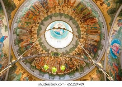 Moscow, Russia - May 30, 2017: The interior decoration and painting of the Church of the Resurrection of Christ and the New Martyrs and Confessors of the Russian Church in Sretensky Monastery