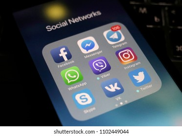 Moscow, Russia - May 30, 2018 Social media applications are displayed on the screen of a smartphone.