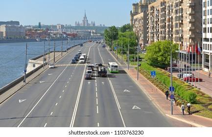 MOSCOW, RUSSIA - MAY 30, 2018: Berezhkovskaya embankment