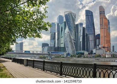 MOSCOW, RUSSIA - May 30, 2019 Moskva-City skyscrapers (Moscow International Business Centre) before rainstorm. View from Tarasa Shevchenko Embankment.