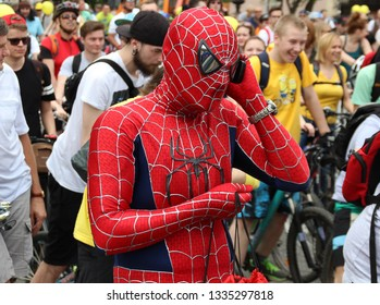 Moscow, Russia, May 31, 2015 - Man in spiderman costume on a bike parade