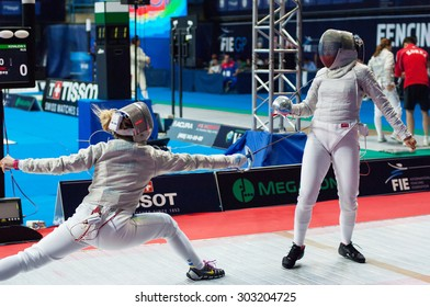 MOSCOW, RUSSIA - MAY 31 2015: V. Kovaleva and O. Kharlan fencing on the World  fencing Grand Prix Moscow Saber in Luzhniki sport palace