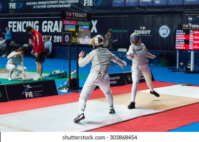 MOSCOW, RUSSIA - MAY 31 2015: Victoria Kovaleva and Olga Kharlan fencing on the World  fencing Grand Prix Moscow Saber in Luzhniki sport palace